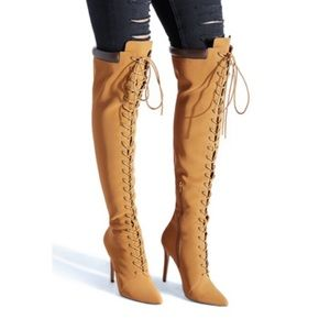 Laced up heel boot